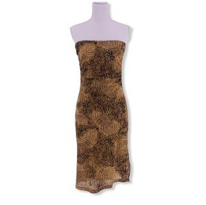 Women's Large Brown Strapless Midi Maxi Dress